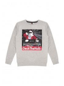 Older Boys Grey Slogan Jumper