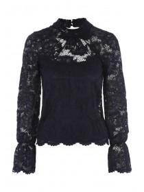 Jane Norman Dark Blue Bell Sleeve Lace Top