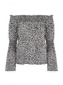 Womens Leopard Print Bardot Top