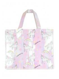 Womens Pink Unicorn Shopping Bag