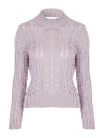 Jane Norman Pink Metallic Cable Knit Jumper