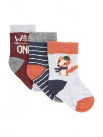 Baby Boys 3pk Fox Socks