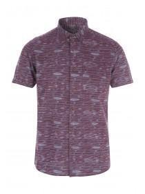Mens Purple Regular Fit Short Sleeve Shirt