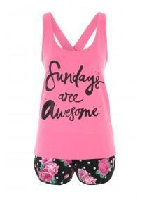 Womens Pink Novelty Top & Shorts Pyjamas