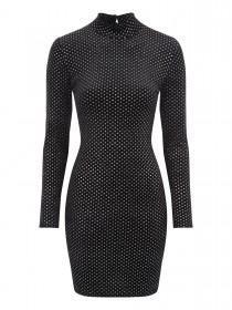 Jane Norman Black Glitter Velvet Dress