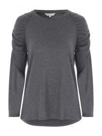 Womens Grey Gather Sleeve Top