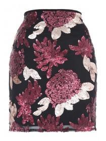 Jane Norman Berry Sequin Mini Skirt