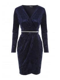 Jane Norman Dark Blue Velvet Belted Wrap Dress