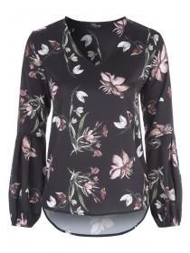 Jane Norman Black Floral Printed Blouse