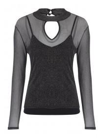Jane Norman Black Lurex Keyhole Top