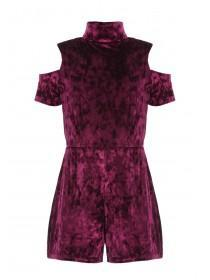 Girls Sohpie Purple Velvet Playsuit