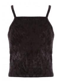Girls Sophie Black High Neck Velvet Top