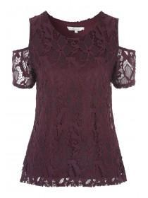 Womens Lace Cold Shoulder Top