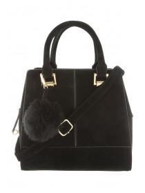 Womens Black Suedette Pom Grab Bag