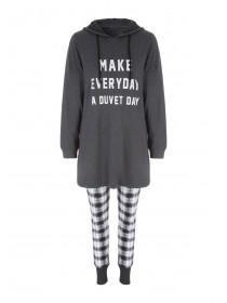 Womens Slogan Longline Hooded Pyjamas