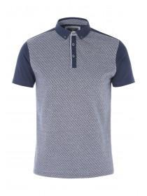 Mens Jacquard Front Polo
