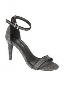 Womens Black Lurex Two Part Sandal