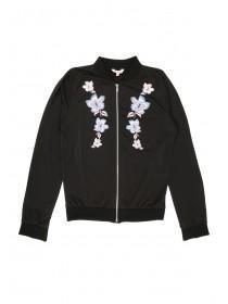 Older Girls Black Sweater Bomber Jacket