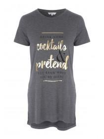Womens Grey Slogan T-Shirt
