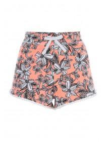 Womens Pink Floral Printed Shorts