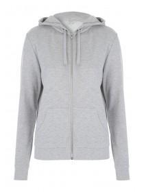 Womens Grey Brush Back Zip Sweater