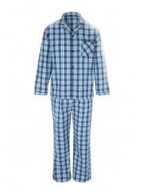 Mens Teal Long Check Pyjama Set