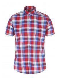 Mens Red Short Sleeve Checked Shirt