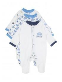 Baby Boys 3Pk Vehicle Sleepsuits