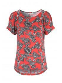 Womens Red Printed Split Sleeve Cold Shoulder Top