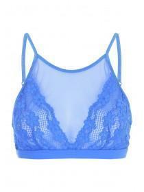 Womens Blue Daisy Lace High Neck Bralette