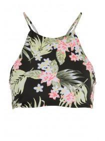 Womens Black Tropical Hi-Neck Reversible Bikini Crop Top