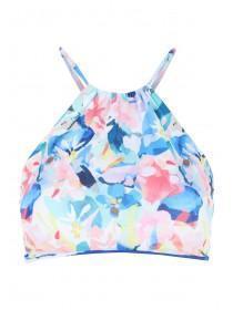 Womens Blue High Neck Reveal Bikini Top