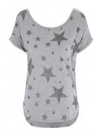 Womens Grey Star Viscose Top