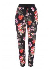 Womens Black Floral Pyjama Bottoms