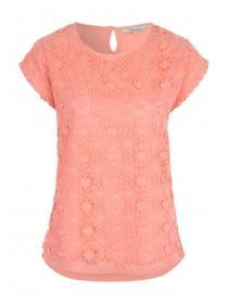 Womens Orange Lace Front T-Shirt