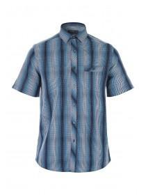 Mens Blue Short Sleeve Check Shirt