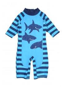 Younger Boys Blue Shark Sunsafe Swimsuit