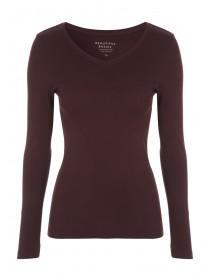 Womens Natural Long Sleeve V-Neck Top