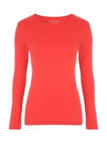 Womens Red Long Sleeve Crew T-Shirt