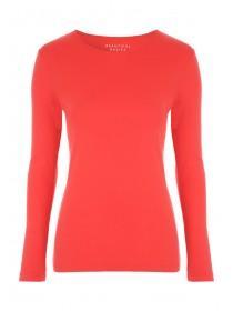 Womens Red Long Sleeve Crew T-Shirt
