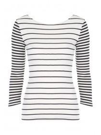 Womens Cream Mixed Stripe Ribbed Top