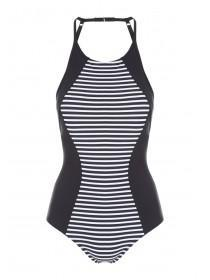 Womens Stripe Sporty Swimsuit