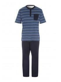 Mens Blue Striped Jersey Pyjamas