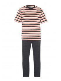 Mens Orange Striped Jersey Pyjamas