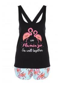 Womens Pink Flamingo Top & Shorts Novelty Pyjamas