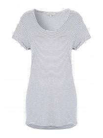Womens Striped Curved Hem T-Shirt