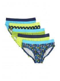 Younger Boys 5PK Lime Green Printed Briefs