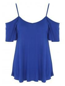 Womens Blue Strappy Cold Shoulder T-Shirt