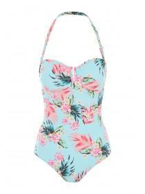Womens Aqua Floral Bandeau Swimsuit