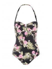 Womens Black Tropical Bandeau Swimsuit